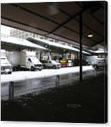 Farmers Market In The Snow Canvas Print