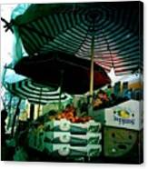 Farmers Market With Striped Umbrellas Canvas Print