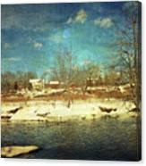 Farmhouse Across The River Canvas Print