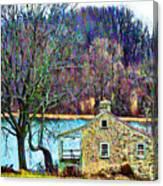 Farmhouse By The Lake Canvas Print