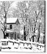 Farmhouse In Winter Canvas Print