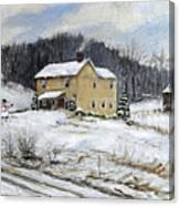 Farmhouse Snowman Canvas Print