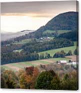 Farms Under The Morning Fog Canvas Print