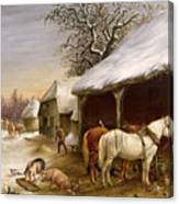 Farmyard In Winter  Canvas Print