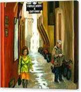 Fashion Alley In Bologna Canvas Print