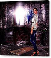 Fashion Model In Jeans  Canvas Print