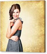 Fashionable Girl In Classic 50s Style Clothing Canvas Print