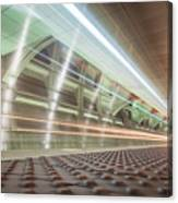 Fast Moving Long Exposure Of Subway Train Underground Tunnel Canvas Print