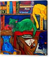 Fat Cats In The Library Canvas Print