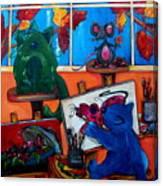 Fat Cats Take Over My Art Studio Canvas Print