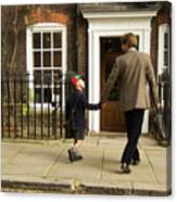 Father And Son Walking Towards Georgian Entrance Canvas Print