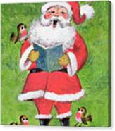 Father Christmas And Robin Chorus Canvas Print