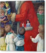 Father Christmas With Children Canvas Print
