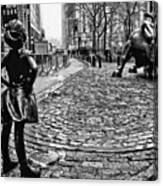 Fearless Girl And Wall Street Bull Statues 3 Bw Canvas Print