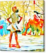 Fearless Girl And Wall Street Bull Statues 6 Watercolor Canvas Print