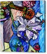 February Still Life Flowers Wine And Orange Canvas Print