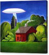Feline Ufo Abduction Canvas Print