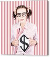 Female Business Superhero Showing Dollar Sign Canvas Print