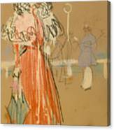 Female Figure In Red Canvas Print