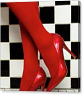 Female Legs In Red Pantyhose And Shoes On High Heels On A Background Canvas Print