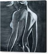 Female Nude Black And Grey Canvas Print