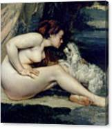 Female Nude With A Dog Canvas Print