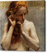 Female Nude with Red Hair Canvas Print