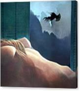 Femme Oiseau Montagne Canvas Print