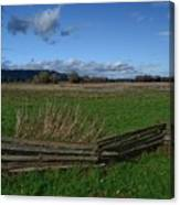 Fence And Open Field Canvas Print