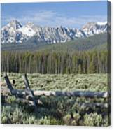 Fence And The Sawtooths Canvas Print
