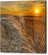 Fence On The Beach Canvas Print