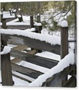 Fence Post At Donner Lake Area Covered Canvas Print