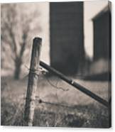 Fence Post In Black And White Canvas Print