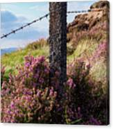 Fence Post In The Peak District Canvas Print