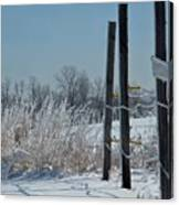 Fence Posts In Ice Canvas Print