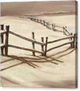 Snowy Fence Forever Canvas Print