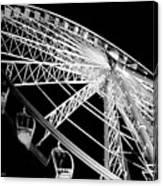 Ferris Wheel Against Black Sky Canvas Print