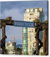 Ferry Dock At Granville Island In Vancouver Bc Closeup Canvas Print