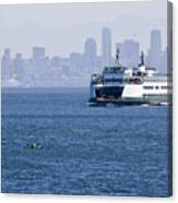 Ferry Versus Kayaker Canvas Print
