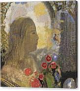 Fertility. Woman In Flowers Canvas Print