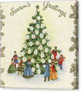 Festive Christmas Tree In A Town Square Canvas Print