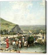 Fetching Water. Algeria Canvas Print