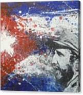 Fidel Castro Cuban Flag Canvas Print