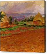 Field And Haystacks 1885 Canvas Print
