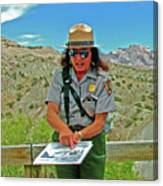 Field Archeologist Ranger In Quarry In Dinosaur National Monument, Utah  Canvas Print