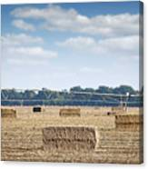 Field With Straw Bale And Center Pivot Sprinkler System Agricult Canvas Print