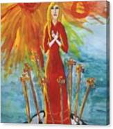 Fiery Eight Of Swords Illustrated Canvas Print