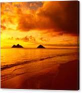 Fiery Lanikai Beach Canvas Print