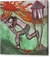 Fiery Seven Of Swords Illustrated Canvas Print