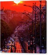Fiery Sunset In Belgrade Belgradehenge Canvas Print